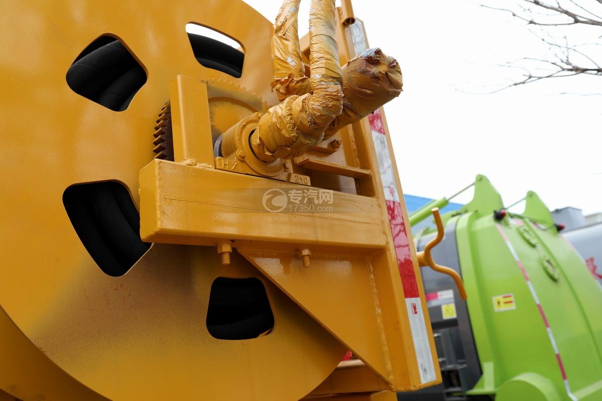 东风凯普特K7国六清洗吸污车(黄色)水管卷盘细节