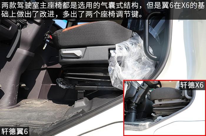 軒德翼6和軒德X6駕駛室對比評測氣囊座椅