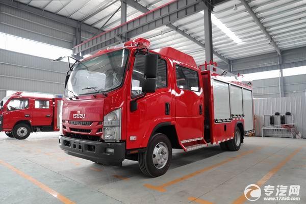 国六推荐,庆铃五十铃ELF双排3.5吨泡沫消防车价格多少钱?