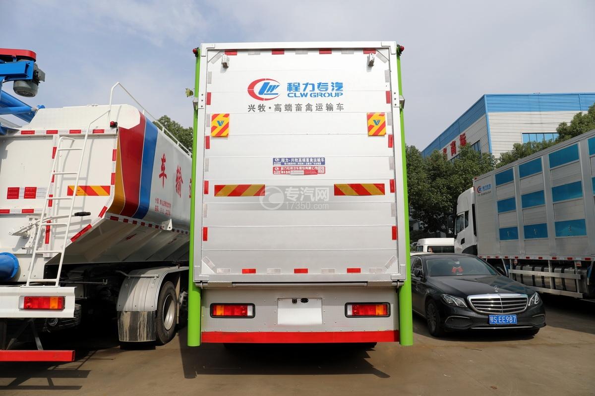东风天龙KL前四后八国五铝合金畜禽运输车正后图