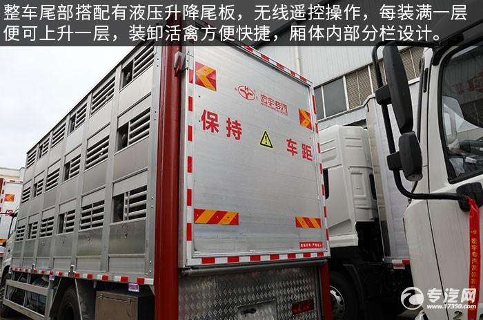 东风天锦VR单桥国六畜禽运输车评测液压尾板