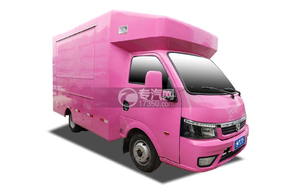 东风途逸国六售货车(粉色)右前图