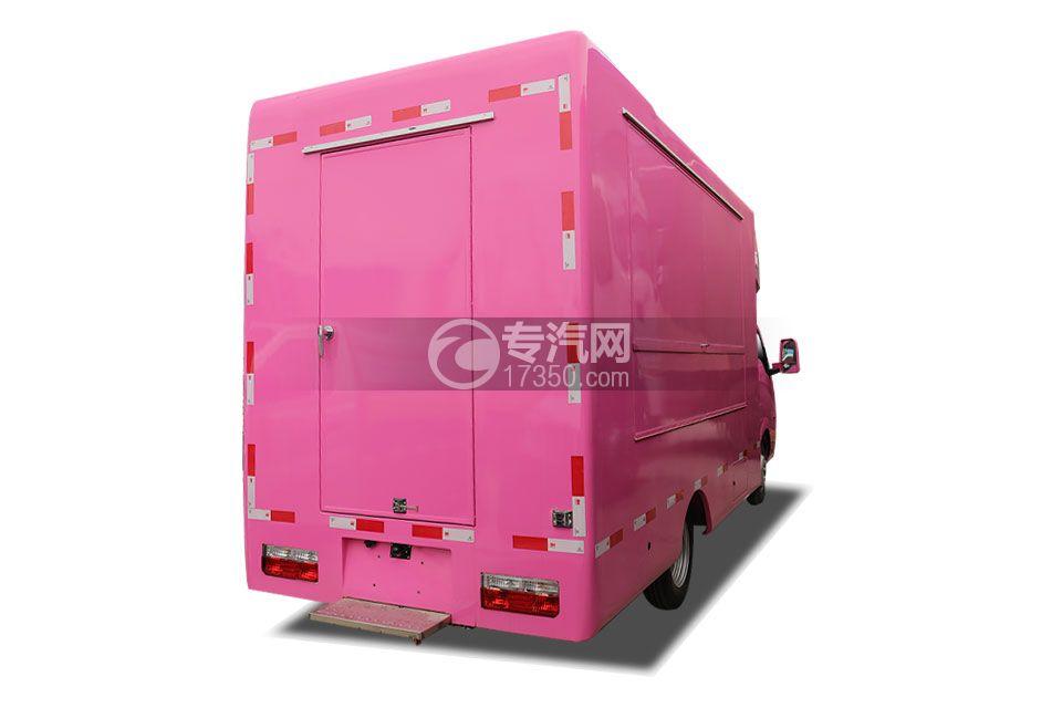 东风途逸国六售货车(粉色)右后图
