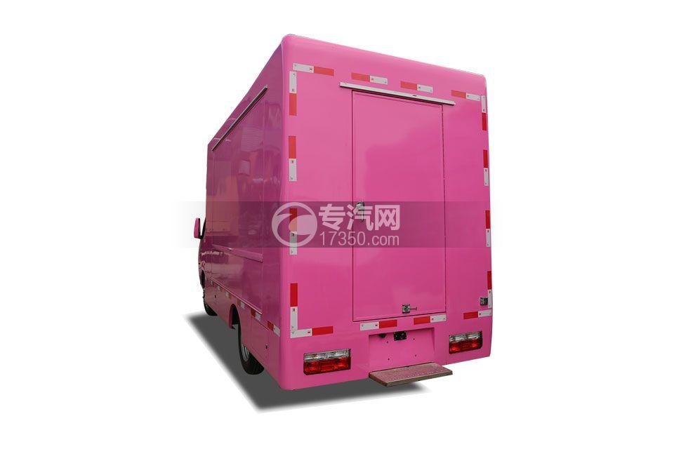 东风途逸国六售货车(粉色)左后图