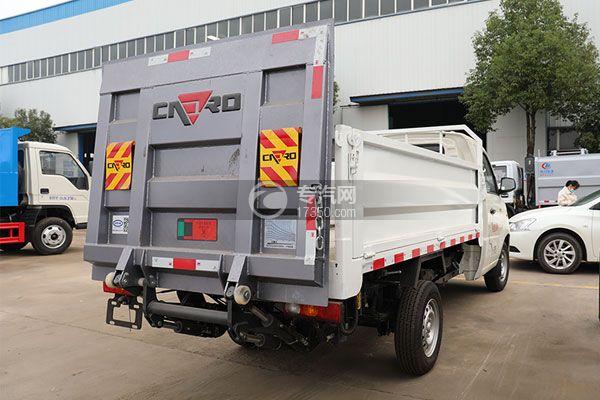 福田祥菱V1国六桶装垃圾运输车侧后方图
