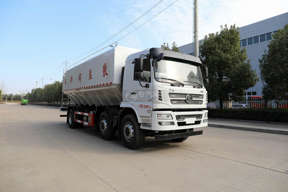 陕汽轩德X6小三轴国六散装饲料运输车