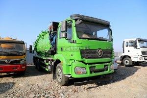 陕汽德龙新M3000后双桥国六16.79方清洗吸污车(绿色)图片