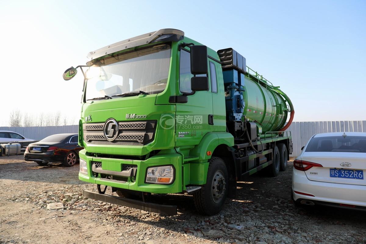 陕汽德龙新M3000后双桥国六16.79方清洗吸污车(绿色)左前图