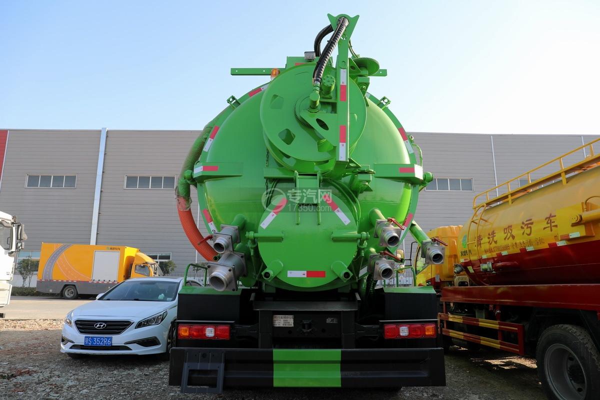 陕汽德龙新M3000后双桥国六16.79方清洗吸污车(绿色)正后图