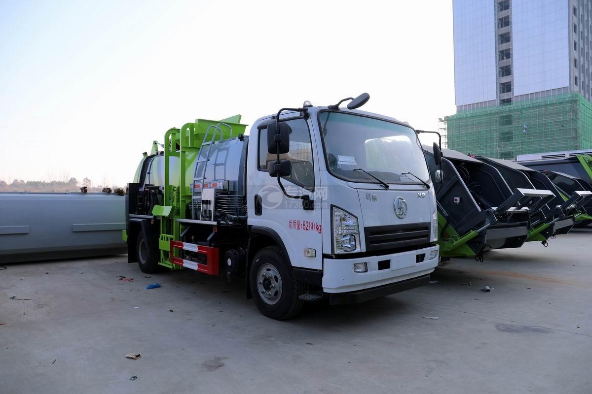陕汽轩德X9国六餐厨式垃圾车右前45度图
