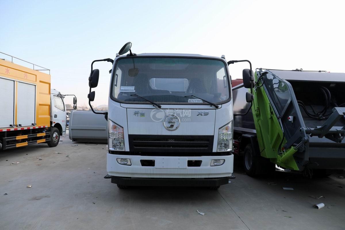 陕汽轩德X9国六餐厨式垃圾车正前方图