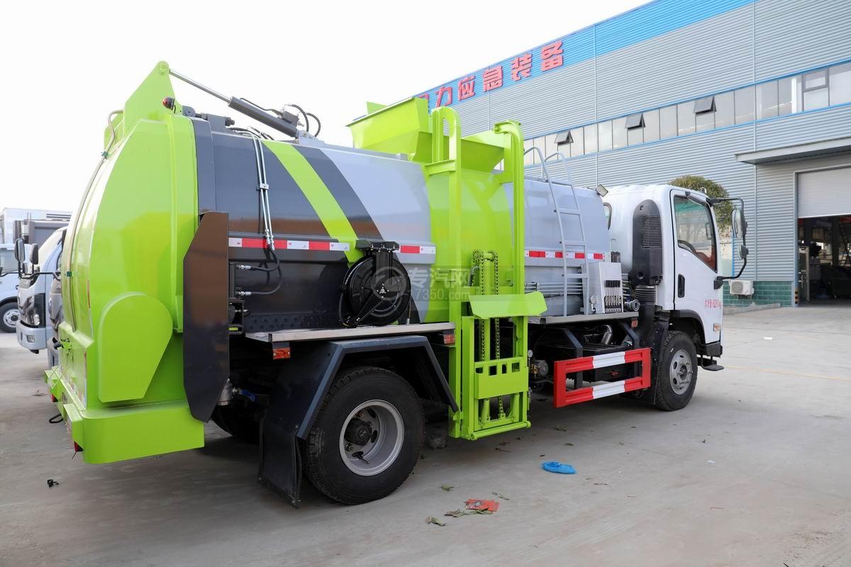陕汽轩德X9国六餐厨式垃圾车侧后方图