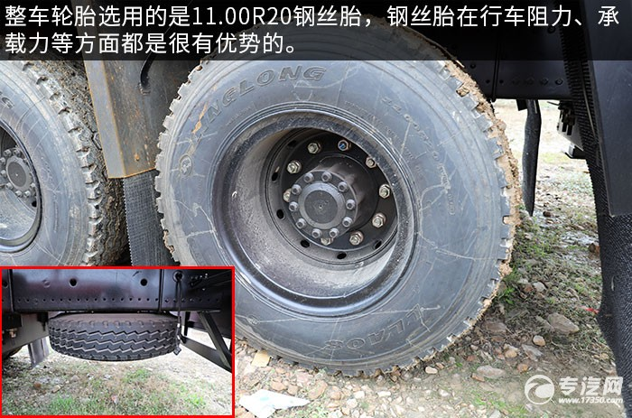 東風華神T5前四后八國六30噸折臂隨車吊評測輪胎