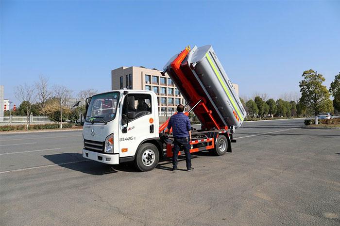 大運小卡國六車廂可卸式垃圾車操作視頻