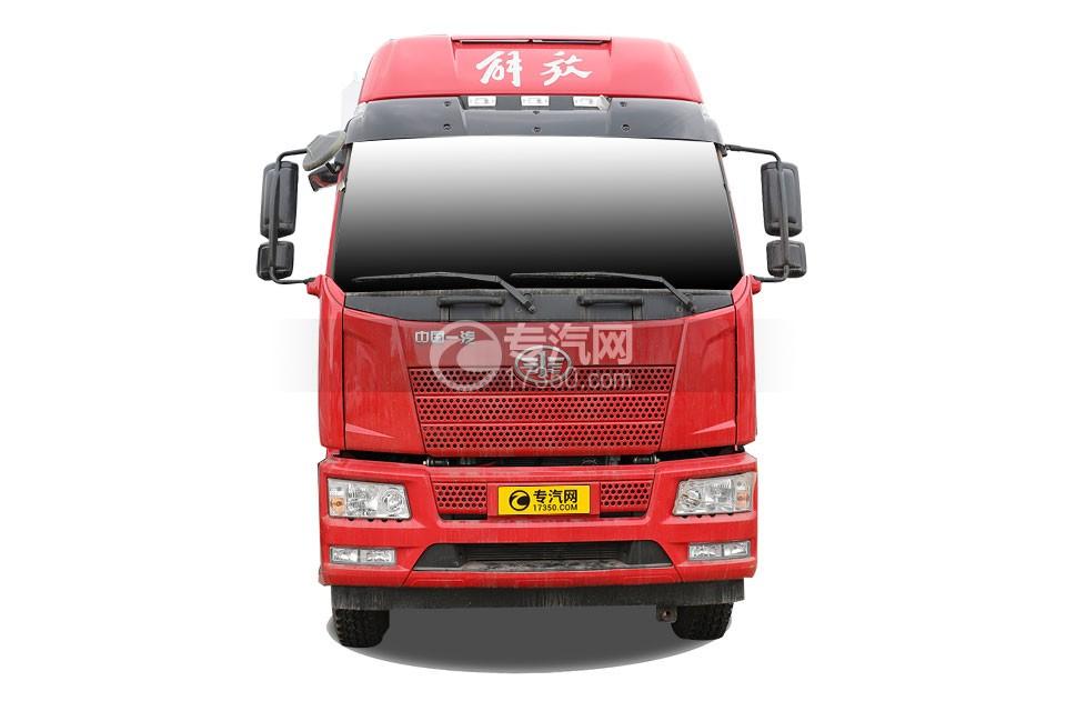 解放J6L小三軸國六散裝飼料運輸車正前方圖