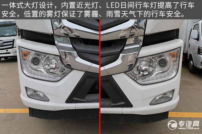 福田奥铃国六厢式畜禽运输车评测车灯