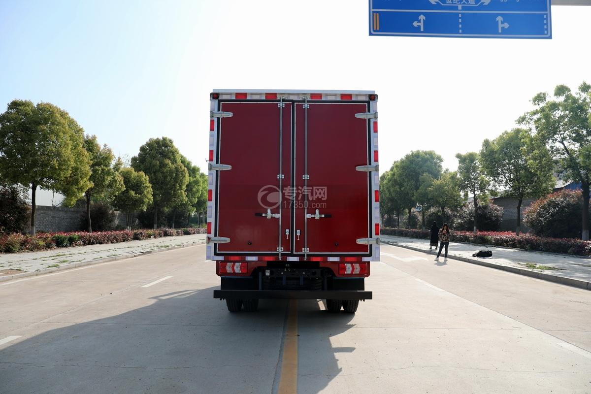 陕汽轩德翼9单桥国六蓝牌厢式货车正后图
