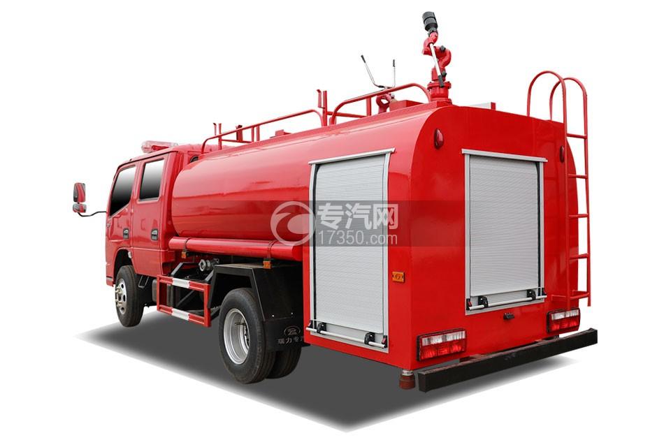 东风多利卡D6双排国六3.7方消防洒水车左后图