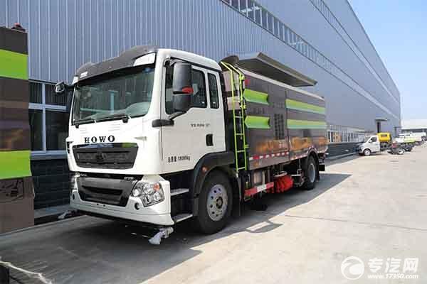 產品齊全,重汽豪沃18噸掃路車、吸塵車、洗掃車任您選