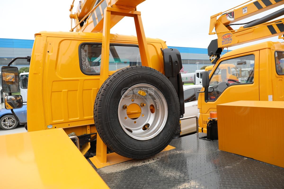 江淮康铃H3国六13.5米折叠臂式高空作业车备胎架