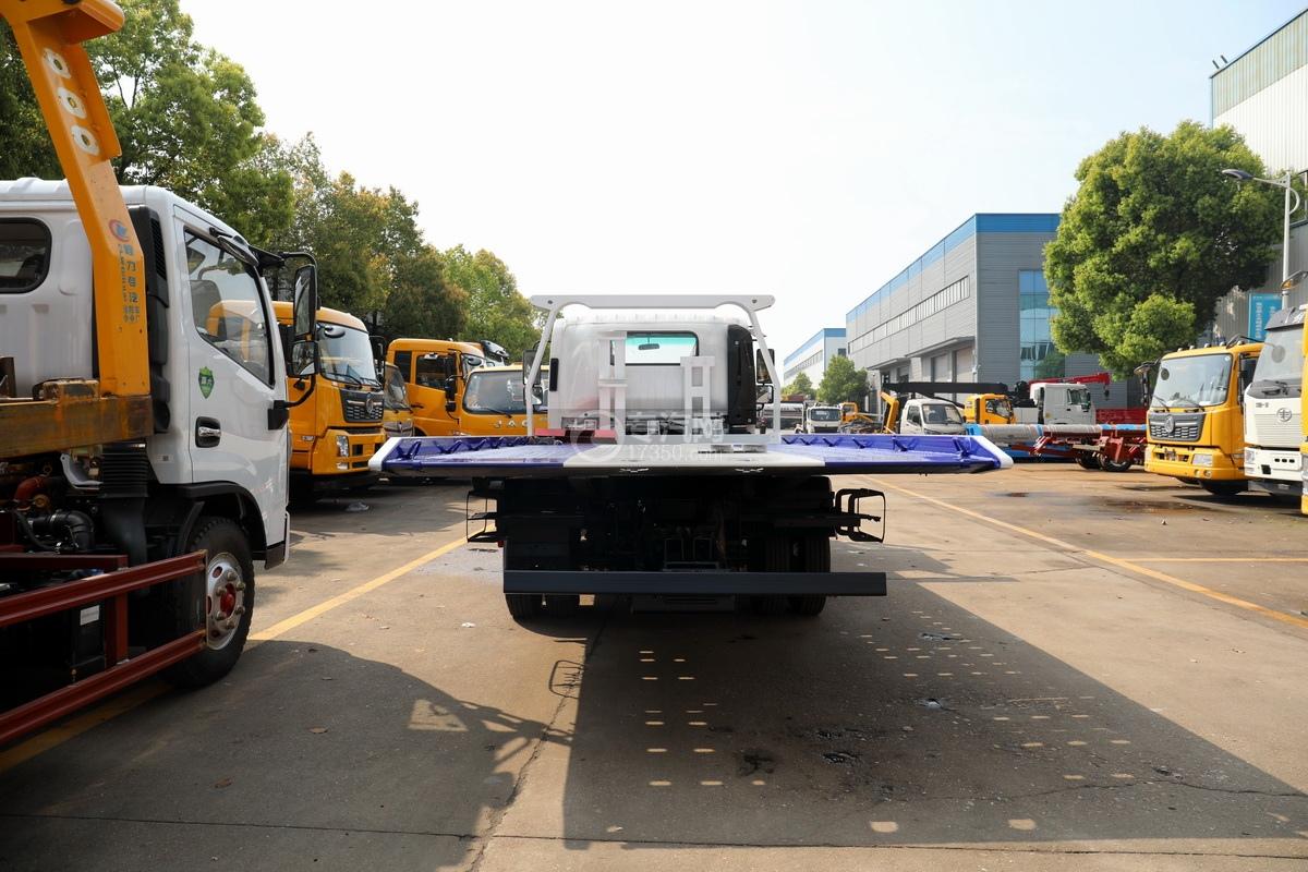 慶鈴五十鈴KV100國六一拖二藍牌清障車(白色)正后圖
