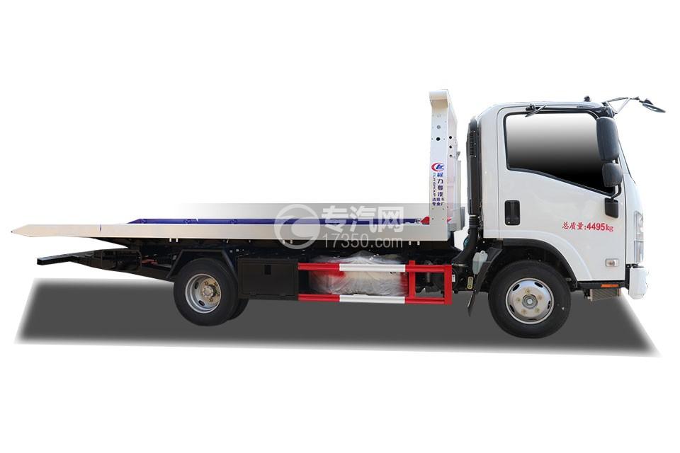 慶鈴五十鈴KV100國六一拖二藍牌清障車(白色)右側圖