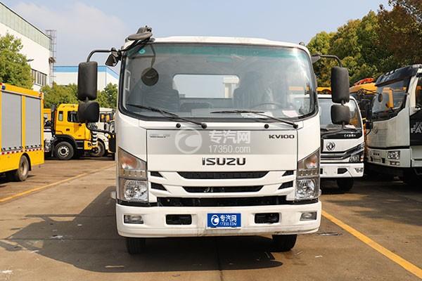 慶鈴五十鈴KV100國六一拖二藍牌清障車(白色)正前方位圖