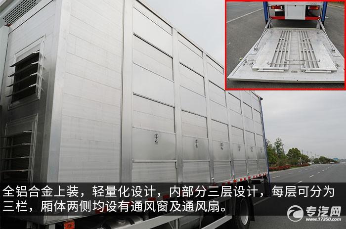 陕汽轩德翼6单桥国六铝合金畜禽运输车评测厢体及尾板