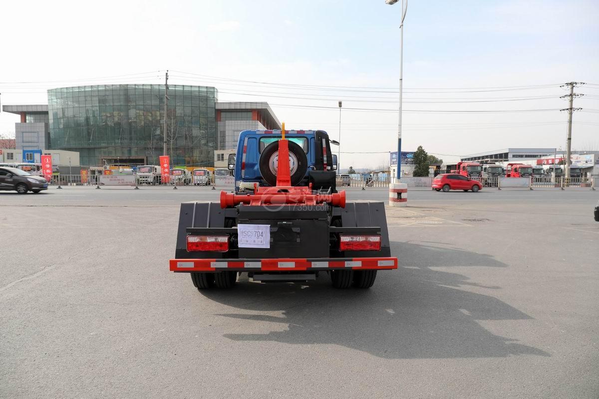 奧馳X2國六車廂可卸式垃圾車正后方圖