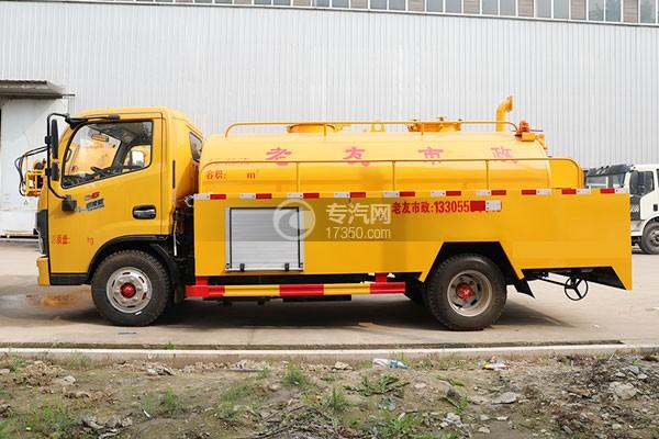 东风多利卡D6国六5.35方黄牌清洗吸污车左侧图