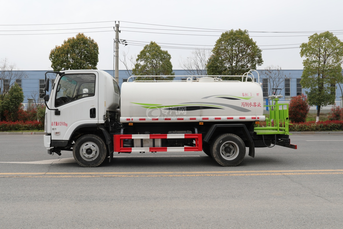 陕汽轩德X9国六5方绿化喷洒车左侧图