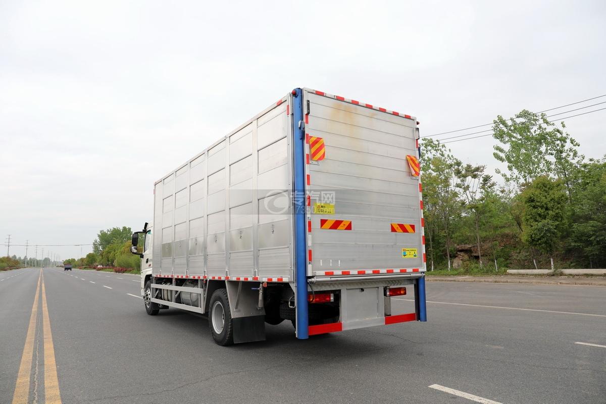 陕汽轩德翼6单桥国六铝合金畜禽运输车左后图