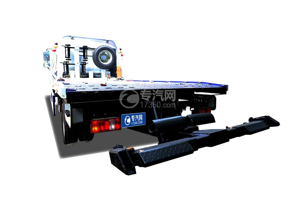 重汽豪曼H3国六一拖二蓝牌清障车(白色)左后图