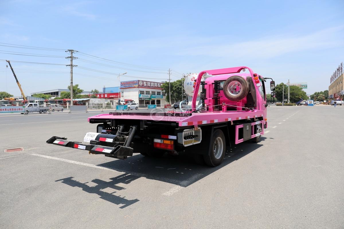 大运新奥普力国六一拖二蓝牌清障车(粉红色)右后图