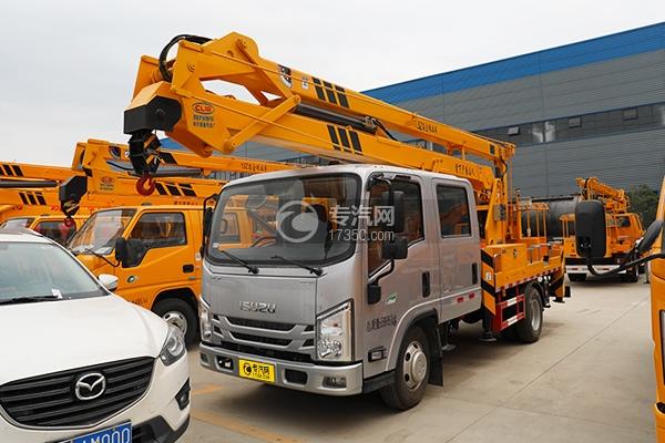 江西五十铃ELF双排EC5国六17.5米折叠臂式高空作业车左前图