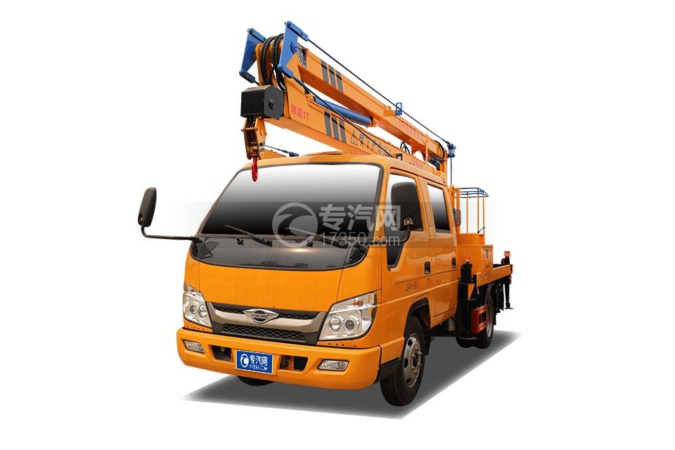 福田时代小卡之星3双排国六13.5米折叠臂式高空作业车