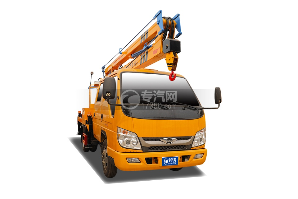 福田时代小卡之星3双排国六13.5米折叠臂式高空作业车右前图