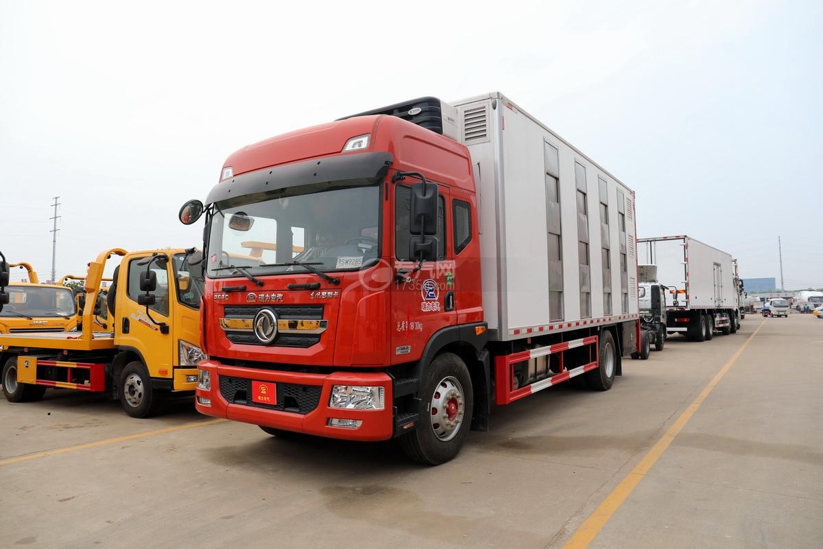 东风多利卡D9国六厢式畜禽运输车(红色)