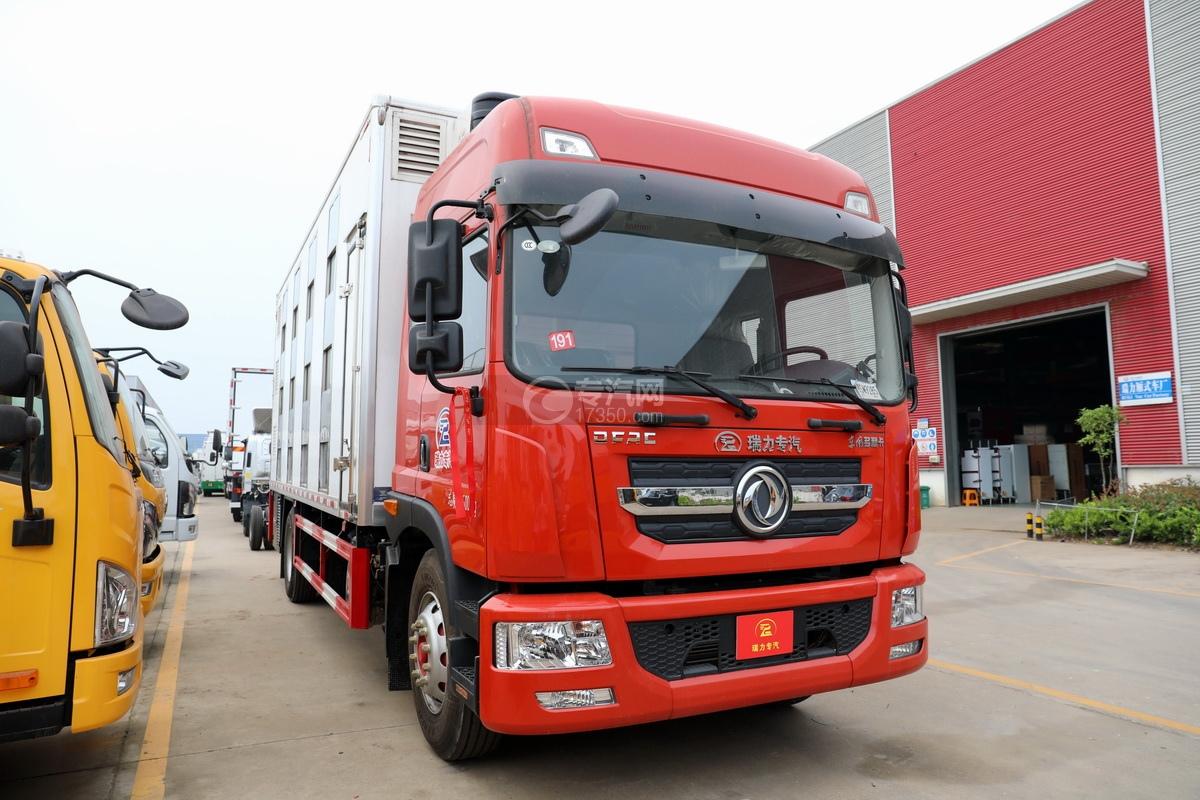 东风多利卡D9国六厢式畜禽运输车(红色)右前图