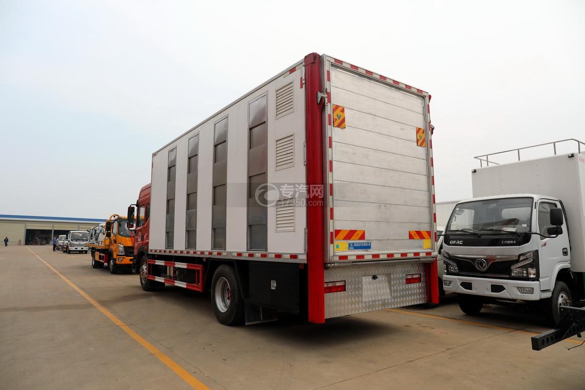 东风多利卡D9国六厢式畜禽运输车(红色)左后图