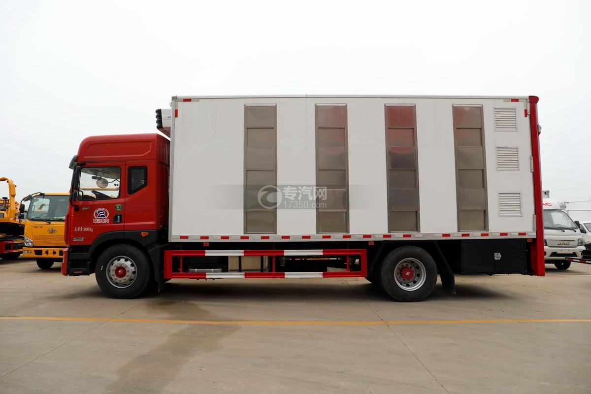 东风多利卡D9国六厢式畜禽运输车(红色)左侧图