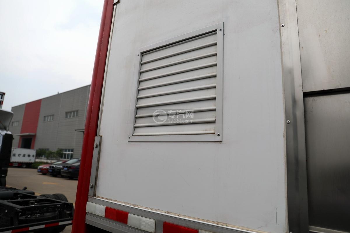 东风多利卡D9国六厢式畜禽运输车(红色)细节