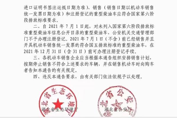 湖北省国六排放标准实施通告