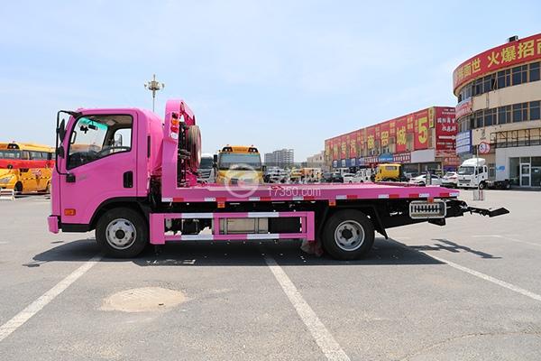 大运新奥普力国六一拖二蓝牌清障车(粉色)左侧图
