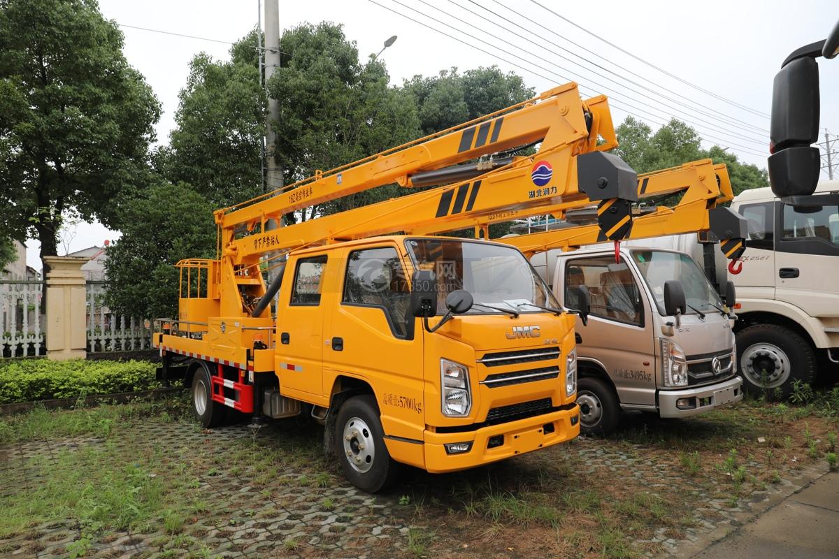 江铃顺达双排座黄牌国六16米折叠臂高空作业车