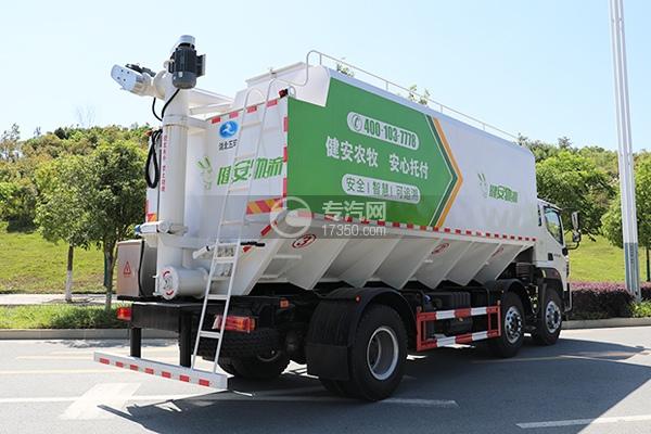 福田時代領航ES7排半國六散裝飼料運輸車側后方圖