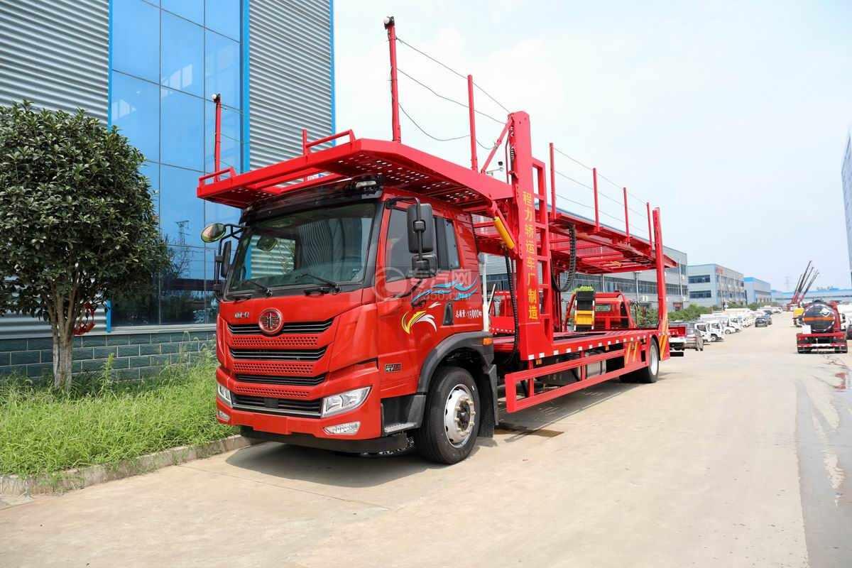 解放悍V2.0单桥国六车辆运输车(红色)