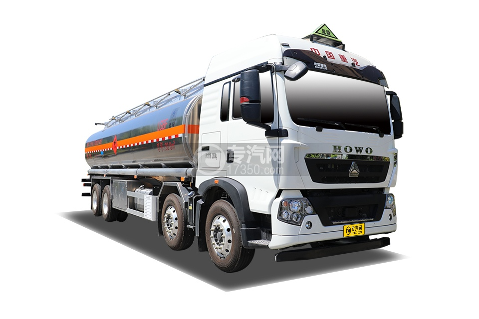 重汽豪沃TX350前四后八国六30.6方铝合金运油车