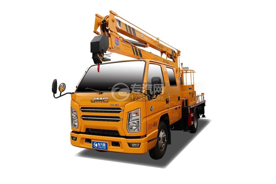 江鈴順達雙排座藍牌國六13米折疊臂高空作業車