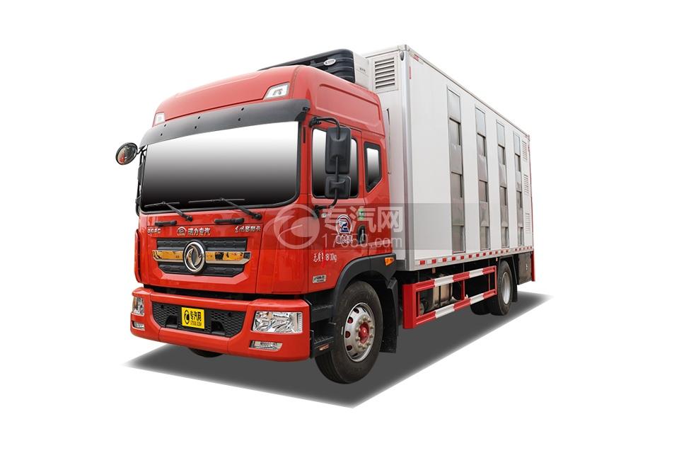 东风多利卡D9高顶国六厢式畜禽运输车(红色)